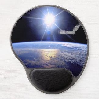 Robot Arm Over Earth with Sunburst Gel Mouse Pad