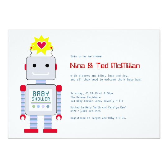 Robot Baby Shower Invitations, 5x7 Card