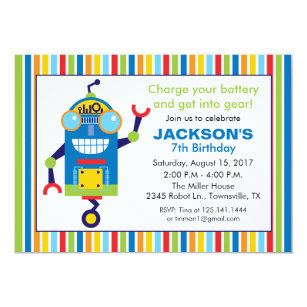 Robot birthday party invitations announcements zazzle robot birthday party invitation filmwisefo Gallery