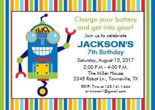 Robot birthday invitations announcements zazzle robot birthday party invitation filmwisefo Gallery