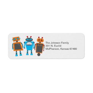 Robot Birthday Party Return Address Label