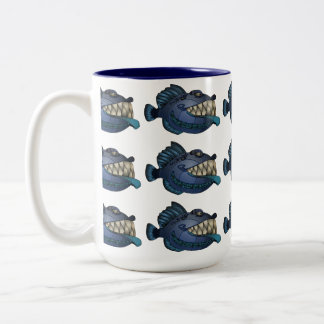 """Robot Blue"" Fish with Attitude Two-Tone Coffee Mug"