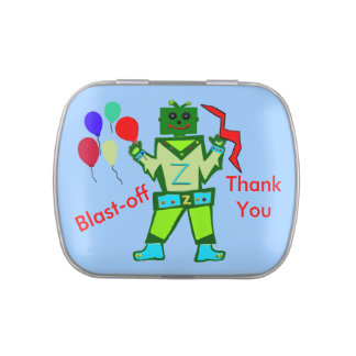 Robot Boy and Party Balloons Blast-Off Thank You Jelly Belly Candy Tin