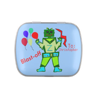 Robot Boy Party Balloons Thank You PERSONALIZE Jelly Belly Candy Tins