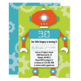 Robot Boy Themed Birthday Party Invitation