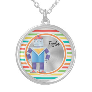 Robot Bright Rainbow Stripes Custom Necklace