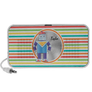 Robot Bright Rainbow Stripes Travelling Speakers