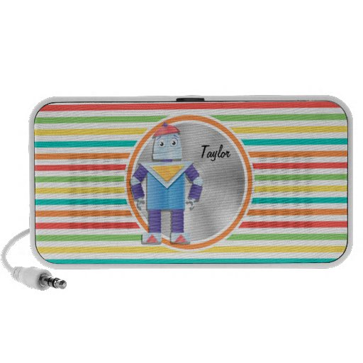 Robot; Bright Rainbow Stripes Travelling Speakers