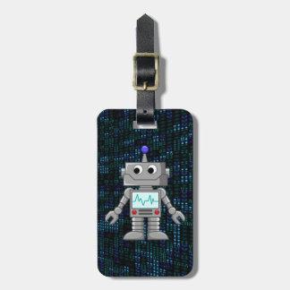 robot cartoon luggage tag
