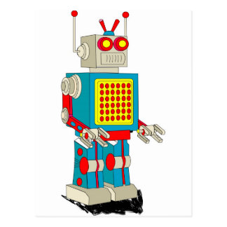 Robot character cartoon postcard