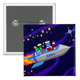 Robot Christmas Rocket 15 Cm Square Badge