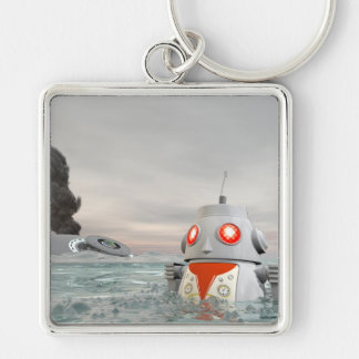 Robot Crash at Sea Keychain
