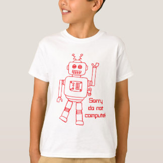 Robot do not compute! red fun kids t-shirt