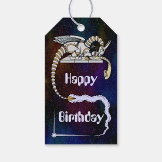 Robot Dragon Writing in Scroll Gift Tags