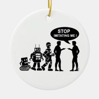Robot evolution round ceramic decoration