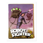 Robot Fighter Fake Pulp Cover Postcard