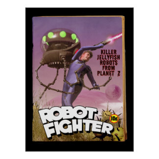 Robot Fighter Fake Pulp Cover Poster