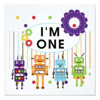 Robot First Birthday Tshirts and Gifts 13 Cm X 13 Cm Square Invitation Card
