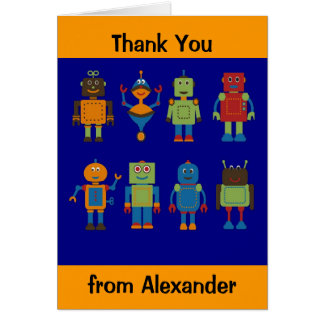 Robot Friends Child's Personalised Thank You Card