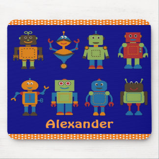 Robot Friends Child's Personalized Mousepad