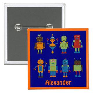 Robot Friends Child's Personalized Square Button