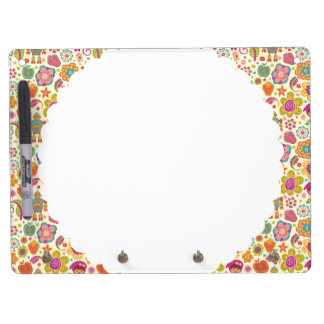 Robot Girl and Garden Kids Pattern Dry Erase Board With Key Ring Holder