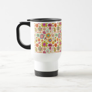 Robot Girl and Garden Kids Pattern Coffee Mugs