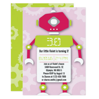 Robot Girl Themed Birthday Party Invitation