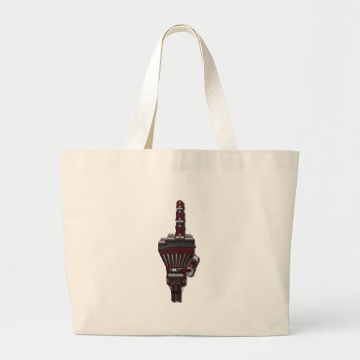 Robot Giving the Finger Canvas Bags