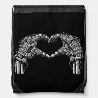 Robot hands make heart shape drawstring bag