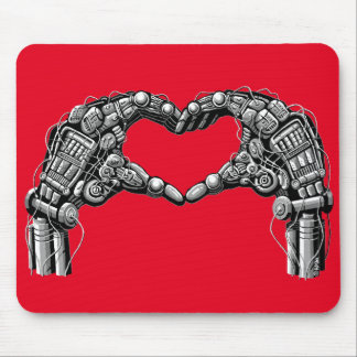 Robot hands make heart shape mouse pad