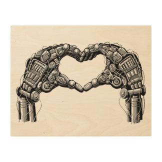 Robot hands make heart shape wood wall art
