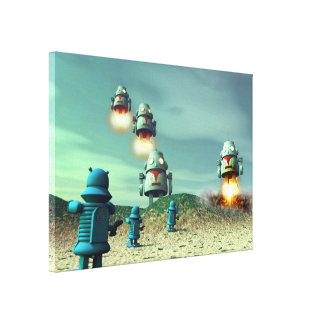 Robot Invasion From Above V2 Stretched Canvas Prin Stretched Canvas Prints