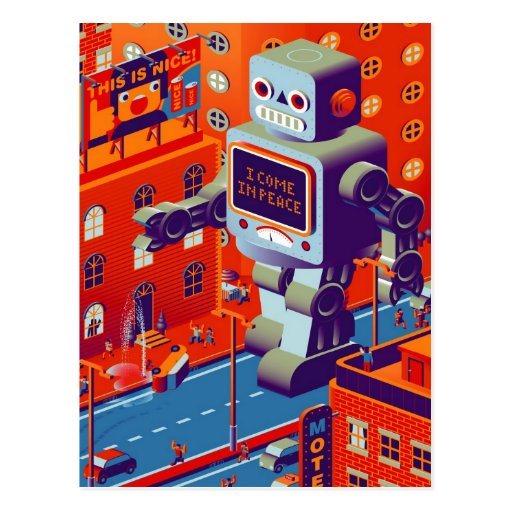 robot invasion postcard