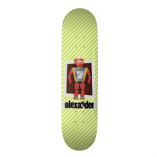 Robot; Lime Green & White Stripes Skate Board Decks