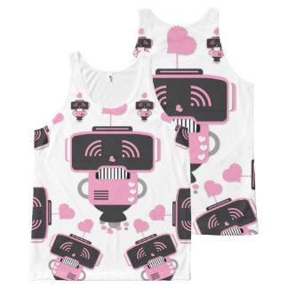 Robot Love All-Over Printed Unisex Tank All-Over Print Tank Top