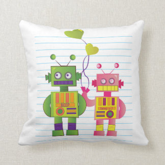 Robot Love Pillow Throw Cushion