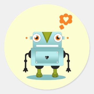 Robot Love Round Sticker
