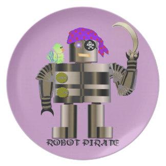 Robot Pirate Melamine Plate