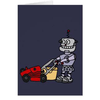 Robot Pushing Lawn Mower Card