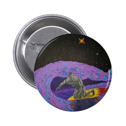Robot Rusty McBolt's Surfin' Vacation Button