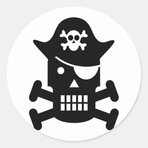 Robot Skull & Crossbones Pirate Silhouette Round Stickers