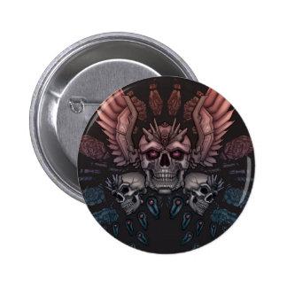 Robot Skull + Wings 6 Cm Round Badge