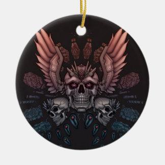 Robot Skull + Wings Ceramic Ornament