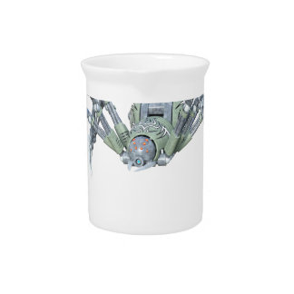 Robot Spider in Green and Silver Drink Pitcher