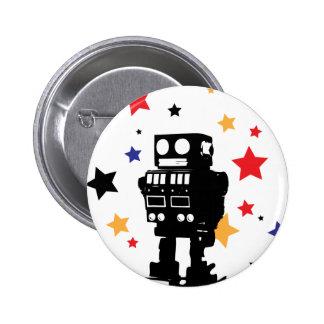 Robot Star 6 Cm Round Badge