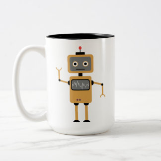 Robot sulks Two-Tone coffee mug