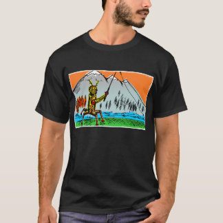 Robot Tenkara Fishing in Autumn - Front T-Shirt