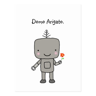 Robot Thank you Domo Arigato Cute Funny Geek Postcard