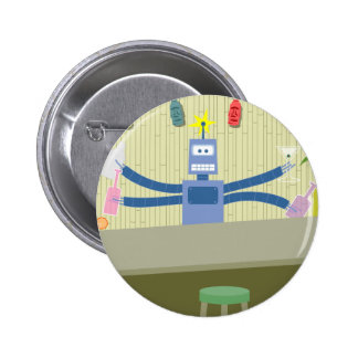 Robot Tiki Bar Bartender 6 Cm Round Badge
